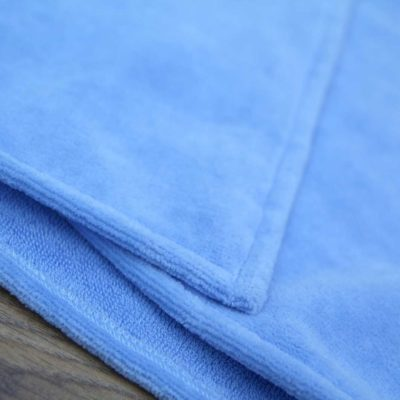 Blue towelling fabric