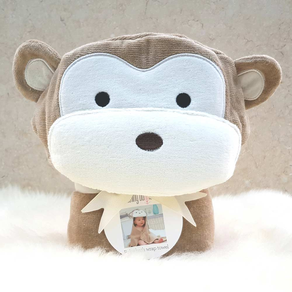 Brown Monkey Hooded Baby Towel