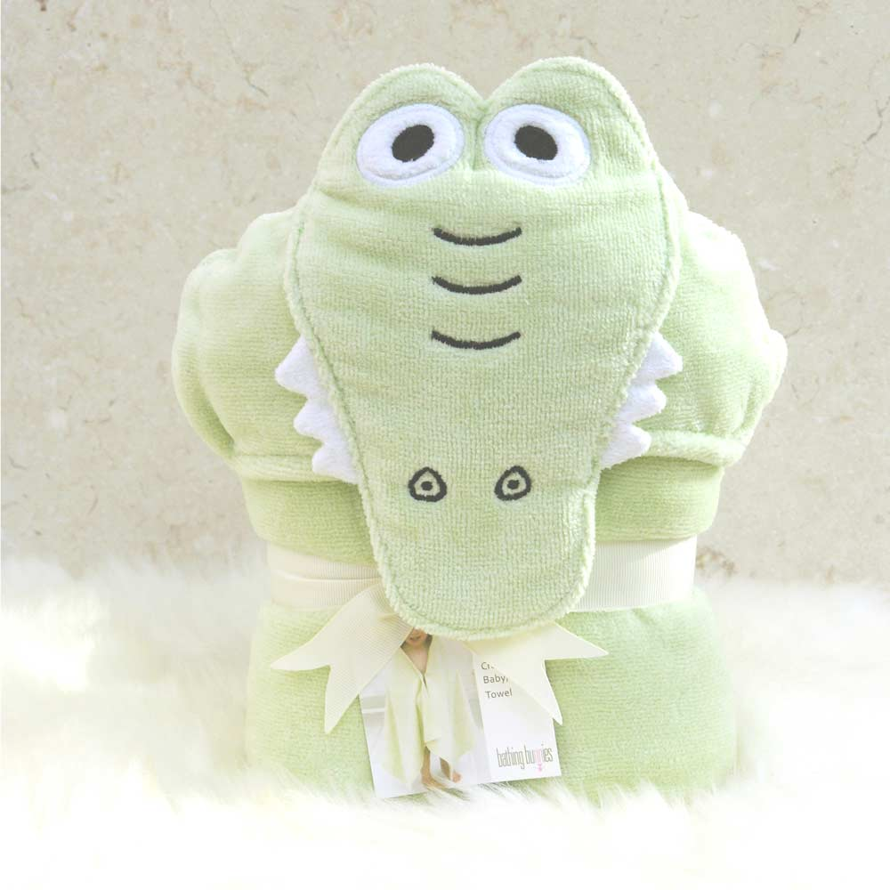Green Crocodile Toddler Hooded Towel