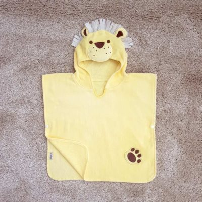 Yellow Lion Hooded Children Towel Poncho