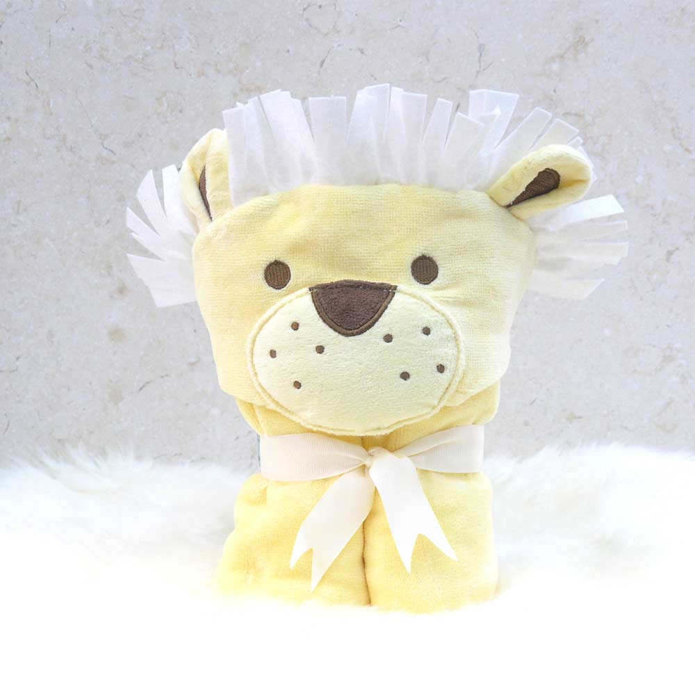 Yellow Lion Hooded Towel Poncho Toddler
