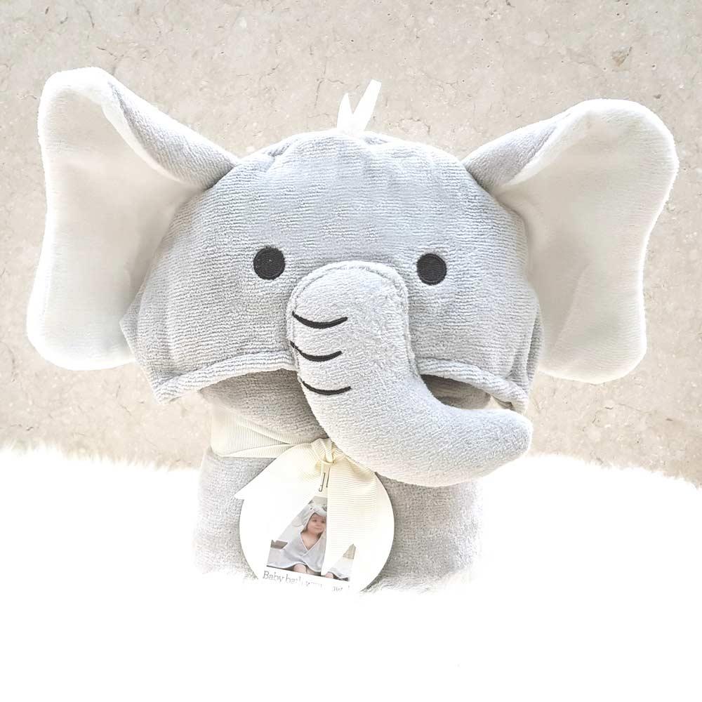 Grey Elephant Hooded Baby Towel