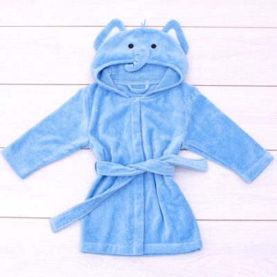 Blue Elephant Toddler Hooded Bathrobe