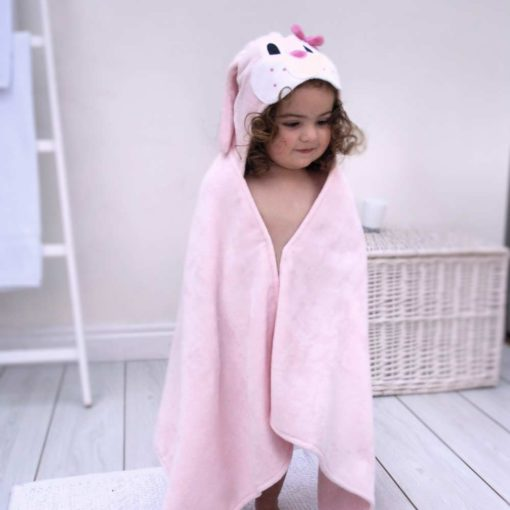 Pink Bunny Hooded Towel for Toddlers