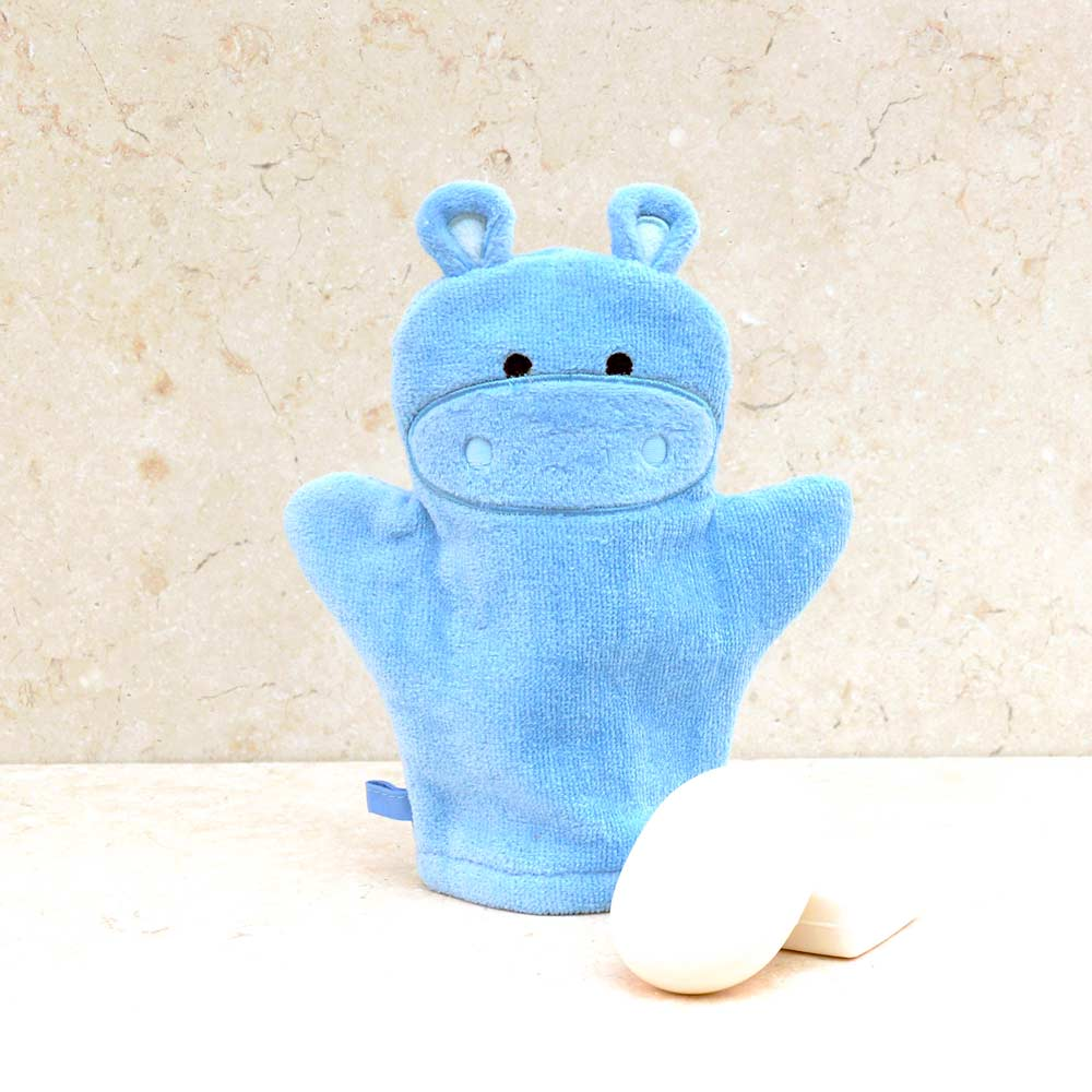 e44fa77977 Happy Hippo Bath Mitt in Soft 100% Cotton | Bathing Bunnies | Bathing  Bunnies