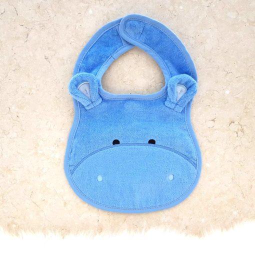 Blue Hippo Baby Bib