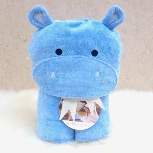 Blue Hippo Hooded Bath Towel for Babies