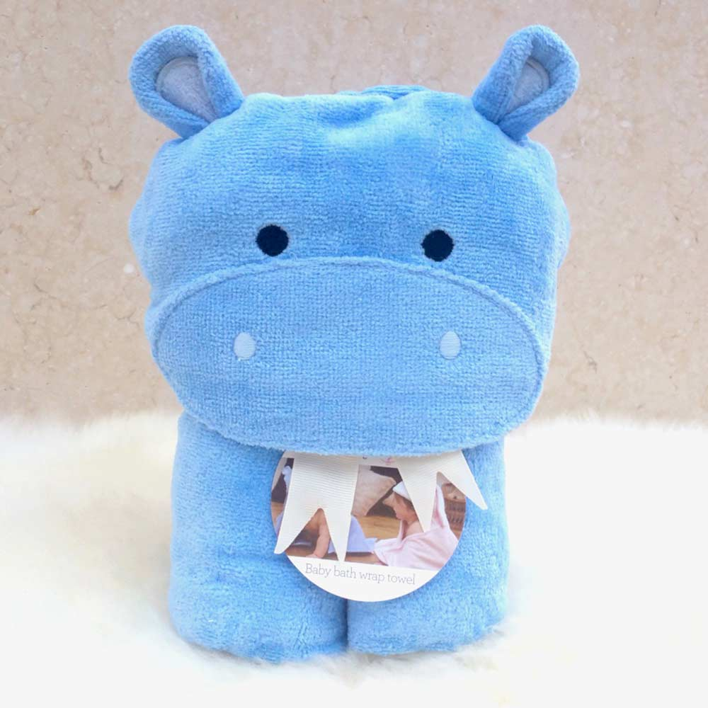 Blue Hippo Hooded Bath Towel for Babies