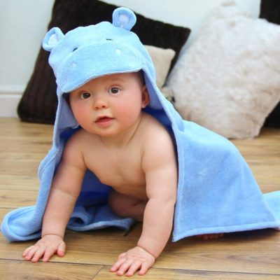 Blue HIppo Hooded Baby Towel