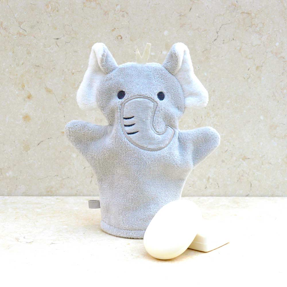 Grey Elephant Baby Bath Mitt