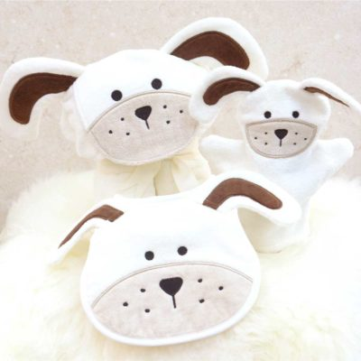 White Puppy Baby Gift Set