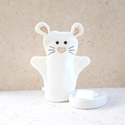 White Mouse Baby Bath Mitt