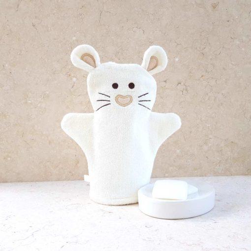 White Mouse Baby Bath Mitt