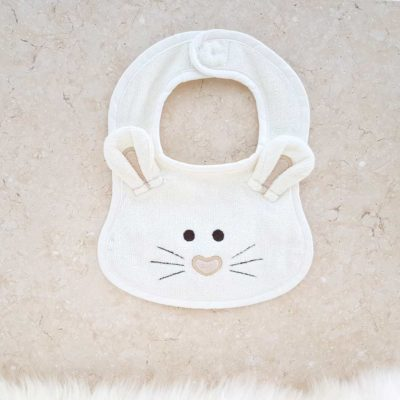 White Mouse Baby Bib