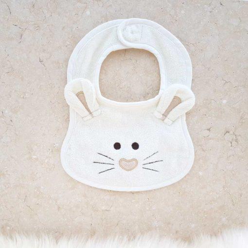 White Mouse Baby Bib