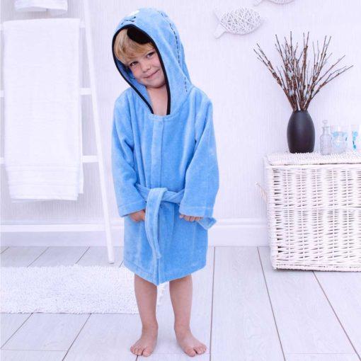 Blue Pirate Toddler Hooded Bathrobe