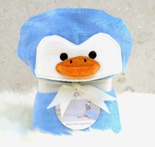 Blue Penguin Baby Hooded Towel