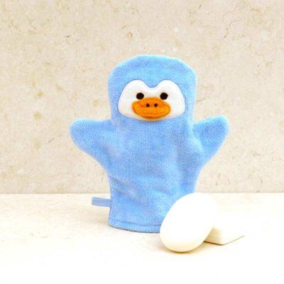 Blue Penguin Baby Bath Mitt