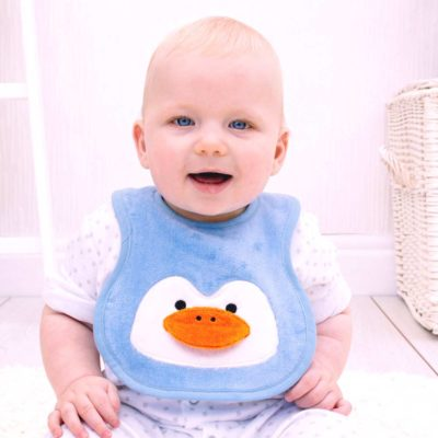 Blue Penguin Baby Bib