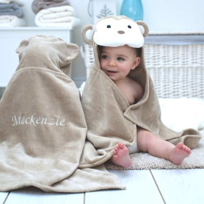 Personalised Monkey Baby Hooded Towel