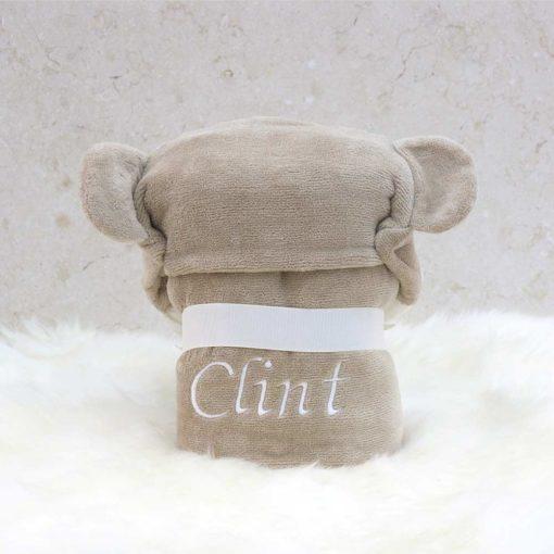 Personalised Monkey Baby Hooded Towel