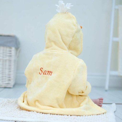 Personalised Yellow Duck Hooded Baby Bathrobe