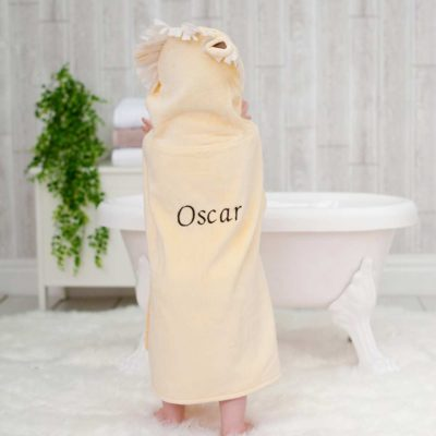 Personalised Yellow Lion Hooded Children Towel Poncho