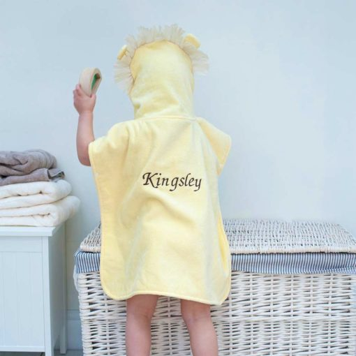 Personalised Lion Hooded Towel Poncho for Toddlers