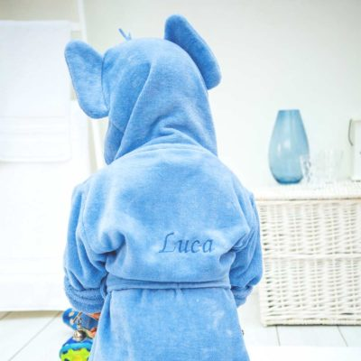 Personalised Blue Elephant Hooded Toddler Bathrobe
