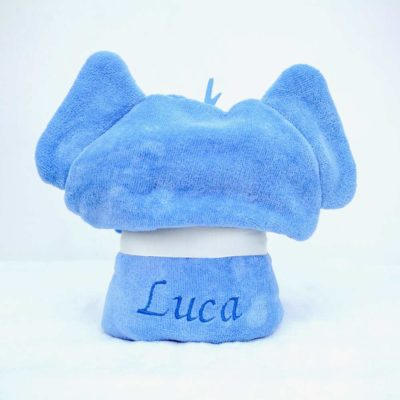 Personalised Blue Elephant Hooded Toddler Robe
