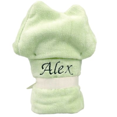 Personalised Green Frog Hooded Baby Bathrobe