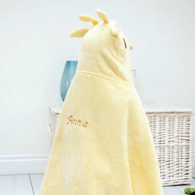 Personalised Yellow Hooded Towel for Toddlers