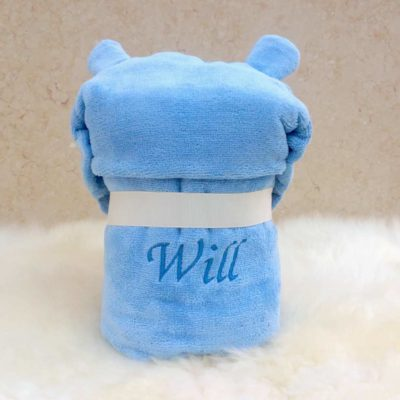 Personalised Hippo Hooded Baby Towel