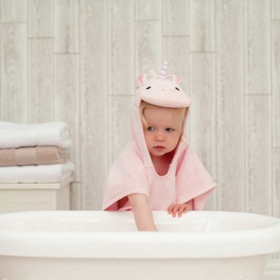 Personalised Pink Unicorn Hooded Children Towel Poncho