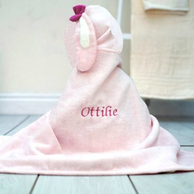 Personalised Pink Bunny Baby Hooded Towel