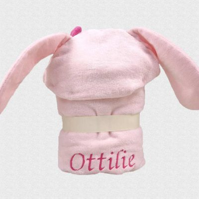Personalised Pink Bunny Baby Hooded Soft Towel