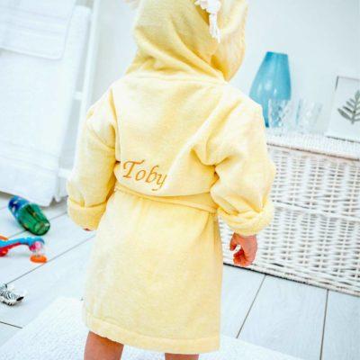Personalised Yellow Lion Hooded Toddler Bathrobe