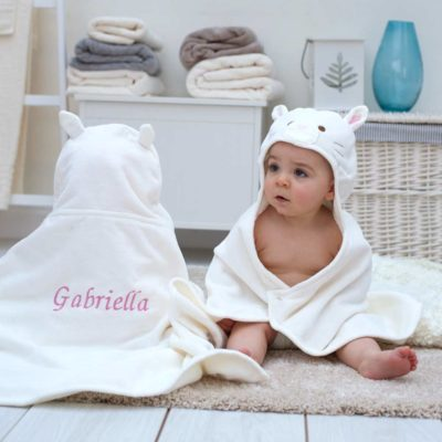 Personalised Cat Hooded Baby Towel