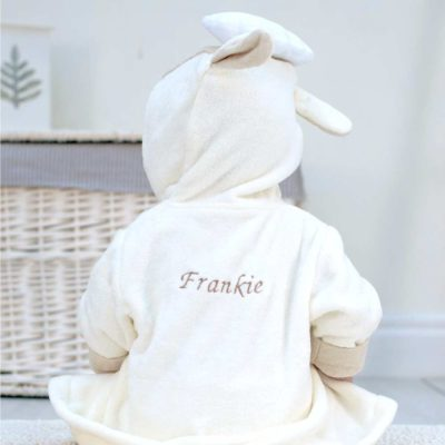 Personalised White Lamb Baby Bathrobe