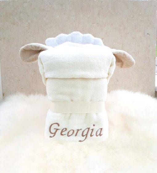 Personalised White Lamb Hooded Baby Towel