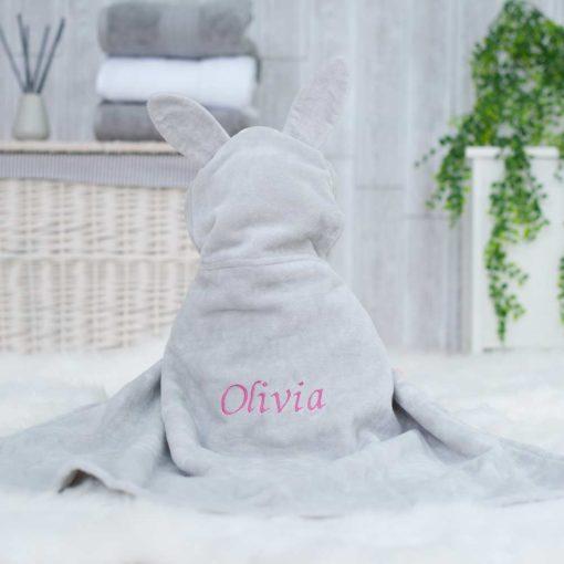 Grey Personalised Bunny Hooded Baby Bath Towel