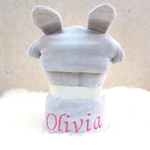 Personalised Grey Bunny Hooded Towel