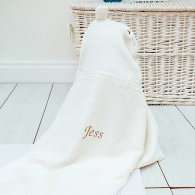 Personalised White Teddy Baby Hooded Towel