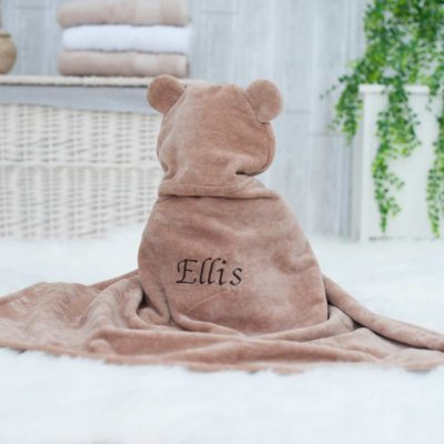 Personalised Brown Teddy Hooded Baby Towel