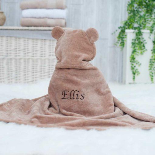 Personalised Brown Teddy Hooded Baby Towel