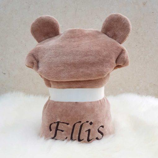 Personalised Brown Teddy Bear Hooded Baby Towel