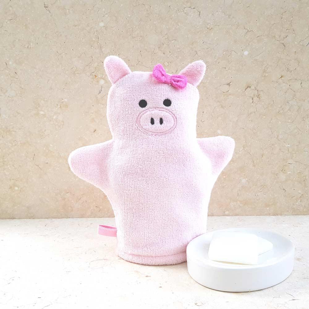 Pink Piggy Baby Bath Mitt
