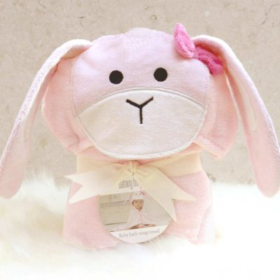 Pink Bunny Hooded Baby Towel