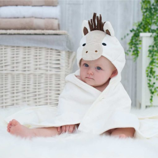 White Pony Hooded Baby Towel