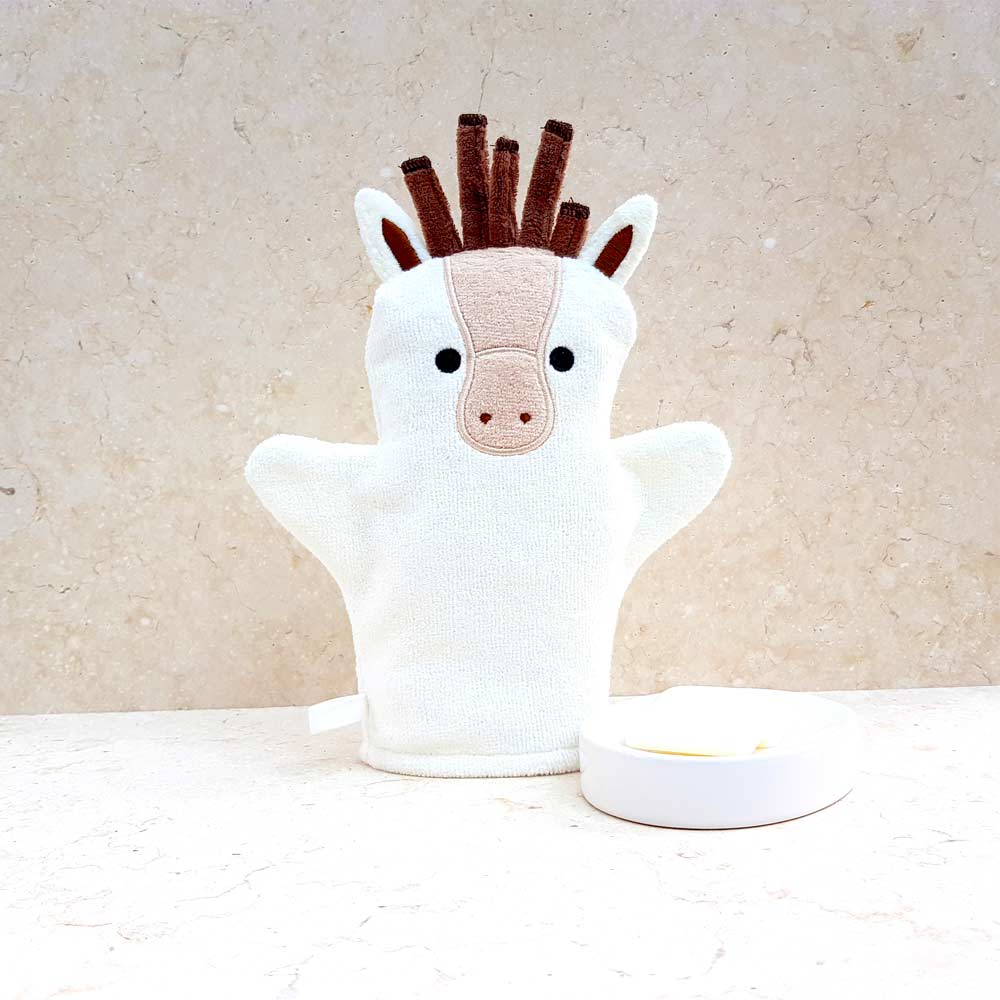 Cream White Pony Baby Bath Mitt
